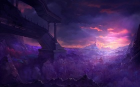 Обои лес, пейзаж, закат, горы, город, замок, фантастика