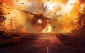 Обои дорога, человек, корабль, крушение, вертолеты, арт, танк