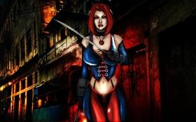 Картинка взгляд, оружие, фон, игра, арт, костюм, вампирша