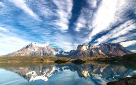 Обои облака, вода, озеро, горы, отражение, Patagonia, Чили