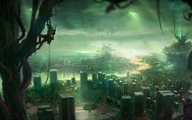 Картинка фантастический мир, пауки, человек, руины, город, деревья, арт