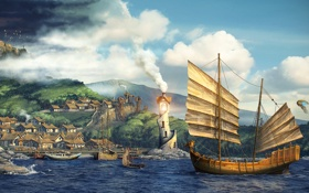 Обои море, город, корабль, герой, паруса, фанарт, fanart