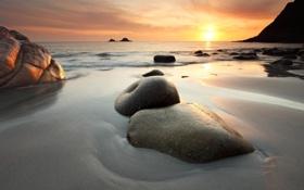 Картинка море, закат, камни, скалы, берег, отлив, Морской пейзаж