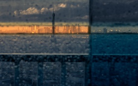 Картинка город, дождь, эйфелева башня, Париж, вид, окно