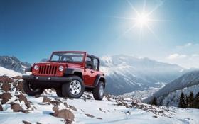 Обои солнце, снег, горы, внедорожник, jeep, wrangel