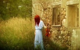 Картинка девушка, дом, стиль, скрипка