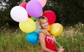 Обои воздушные шары, Девушка, платье, природа