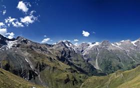 Обои небо, трава, облака, снег, пейзаж, горы, природа
