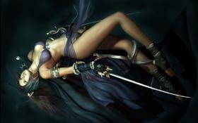 Картинка грудь, змея, шелк, мечи