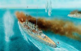 Обои дым, рисунок, арт, выстрелы, немецкие, разрывы, морское сражение