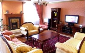Обои дизайн, стиль, диван, мебель, телевизор, кресла, камин