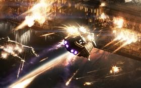 Картинка космос, взрывы, корабли, Планета, стимпанк, сражение, выстрелы