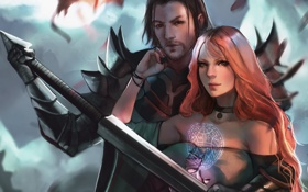 Картинка девушка, ночь, луна, дракон, меч, маг, рыцарь