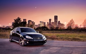 Картинка город, огни, месяц, вечер, Lexus, лексус