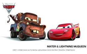 Картинка pixar, машинки, тачки 2, cars 2, mater & lightning mcqueen