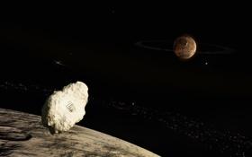 Картинка звезды, планета, след, астероиды, кратеры, луна