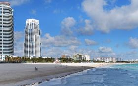Обои город, Майами, пляж, здания