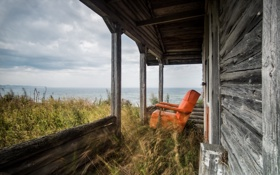 Картинка море, пейзаж, дом, кресло