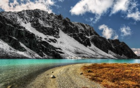 Картинка красотище, горы, снег, речка, небо