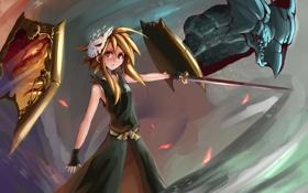 Обои взгляд, девушка, оружие, меч, маска, статуя, жест