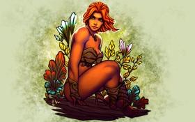 Обои грудь, взгляд, девушка, тело, красота, арт, рыжая