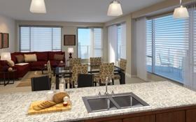 Обои дизайн, жилая комната, квартира, мегаполис, интерьер, стиль