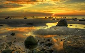 Обои закат, пейзаж, небо, океан, облаках, песок, пляж