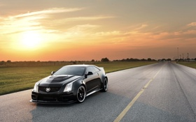 Картинка Cadillac, Закат, Солнце, Небо, Черный, Кадиллак, CTS-V