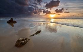 Картинка песок, море, небо, солнце, пейзаж, закат, природа