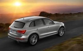 Картинка дорога, закат, Audi, ауди, вид сзади, кроссовер, ку5