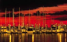 Картинка море, небо, облака, закат, яхты, лодки, причал