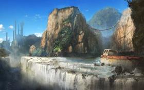 Картинка горы, мост, река, обрыв, скалы, корабль, водопад