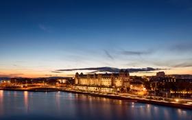 Картинка небо, огни, река, Норвегия, сумерки, Осло