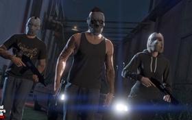 Обои бандиты, gta online, gta 5, маски, Grand Theft Auto V, ps4, оружие