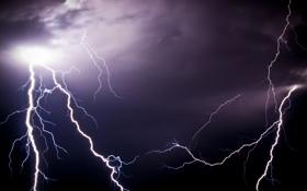 Обои небо, ночь, молния, разряд, электричество