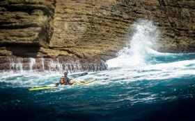 Обои waves, cliff, troubled sea, paddling, kayaking, paddle, extreme sport