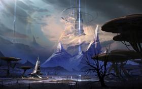 Обои планета, арт, горы, башня, лучи, корабль, человек