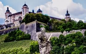 Обои деревья, пейзаж, стена, Германия, склон, бавария, дворец