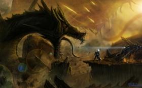 Обои транспорт, дракон, человек, планета, скафандр, арт, гигантский