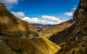 Обои дорога, небо, облака, горы