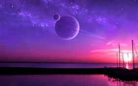 Обои fantasy, ocean, sunset, water, lake, planet, boat