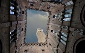 Обои Италия, башня, небо, Сиена