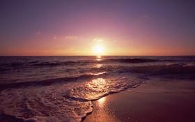 Обои песок, море, волны, пляж, пейзаж, закат, природа
