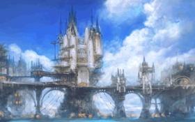Обои облака, небо, замки, океан, арт, мосты, Limsa Lominsa