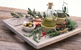 Картинка лавровый лист, зелёные, чёрные, bottles, ветка, olive oil, маслины