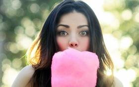 Обои глаза, девушка, лицо, вкусняшка, сахарная вата