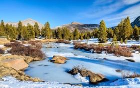Картинка лед, зима, небо, снег, деревья, горы, ручей