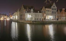 Картинка небо, ночь, мост, огни, отражение, дома, канал