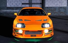 Обои тюнинг, оранжевая, неон, подсветка, спойлер, Toyota, Supra
