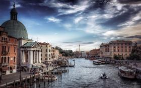 Картинка небо, облака, город, здания, лодки, Италия, Венеция